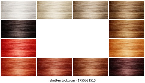 Collage with color hair samples on white background. Space for text