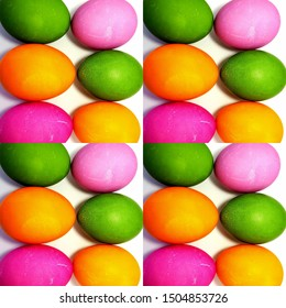 Collage of colored painted eggs