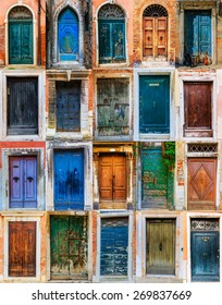 Collage of colorful front doors to houses and homes, collection colorful doors from Venice, Italy