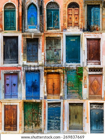 Collage Colorful Front Doors Houses Homes Stock Photo Edit Now
