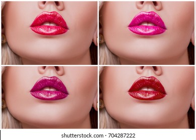 Collage Colorful Lips with Different Shades of Shiny Lipstick close-up. lips covered with a stand red lipstick