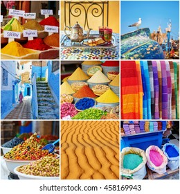Collage with colorful Moroccan photos, selection of spices, olives, carpets on a traditional market (souk), mint tea, sand in Sahara desert