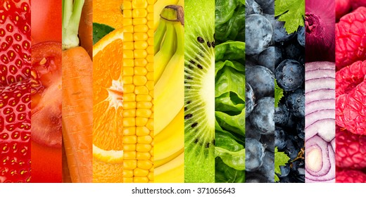 collage of colorful vegetables and fruits