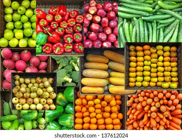 Collage of colorful vegetables and fruits grocer basket.