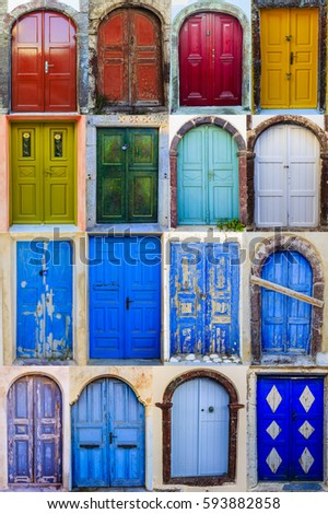 Collage Colourful Front Doors Houses Homes Stock Photo Edit Now