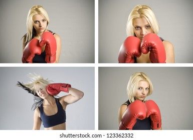 Collage combination of pretty fit blond woman boxer training or working out with red boxing gloves