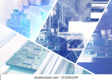 Collage of computer boards with visual effects in a futuristic style. The concept of modern and future technologies