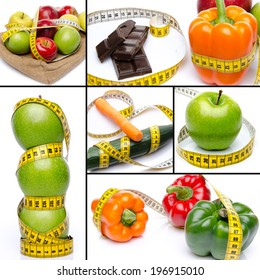 Collage with concepts of diet and weight loss, isolated on white