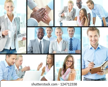 Collage of confident business partners in office