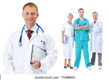 Collage of confident clinicians with handsome doctor in front