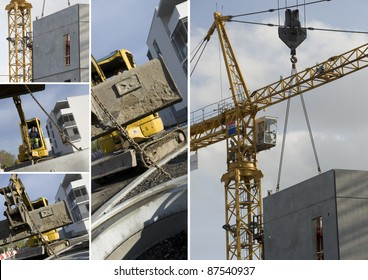 Collage of construction machinery