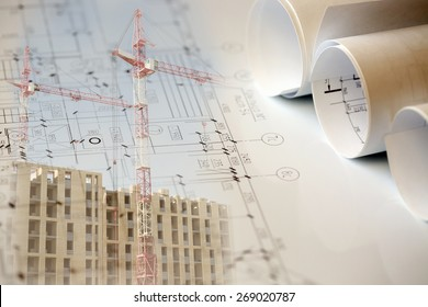Collage with construction plans, cranes and building