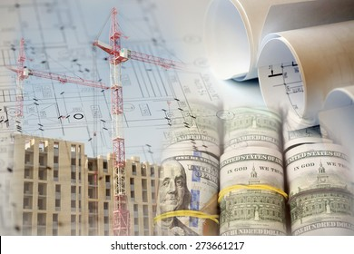 Collage with construction plans, cranes, building and money