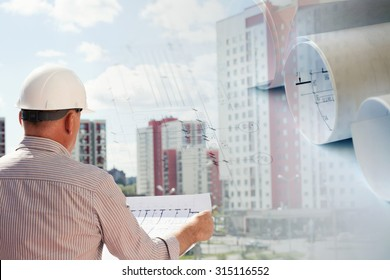 Collage with construction plans and an engineer examining blueprints