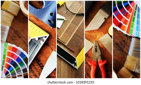 Collage of construction tools. House renovation background