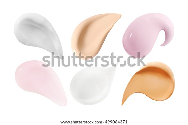 Collage of cosmetic creams isolated on white