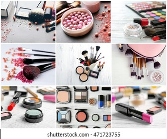 Collage of cosmetic products. Beauty industry concept.