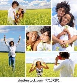 Collage of a couple in summer field