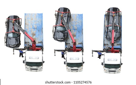 Collage with crashed black car and tow truck platform. Loading process of three photos, top view, isolated on white