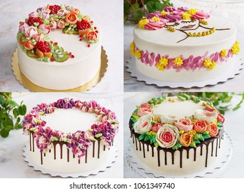 Collage Of Cream Cakes With Flowers On A Light Background