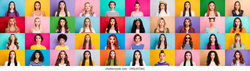 Collage creative design photo of many ladies sending webcam air kisses isolated colorful background