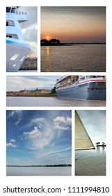 Collage of cruise ship and seascapes