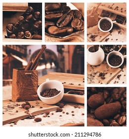 collage of cup of coffee beans at summer travelling
