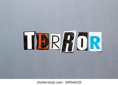 collage of cut out newspaper characters forming the word Terror