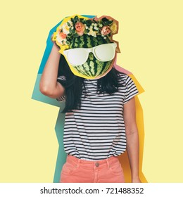 collage of cut watermelon with glasses and a flower wreath and paste on a girl model instead of a head