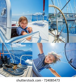 Collage of Cute boy on board of sailing yacht on summer cruise. Travel adventure, yachting with child on family vacation. Kid clothing in sailor style, nautical fashion.