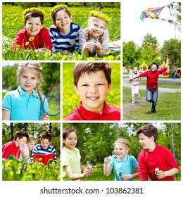 Collage of cute children having rest in summer