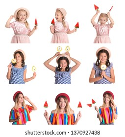 Collage of cute girls with lollypops on white background
