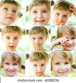 collage of a cute liitle gir's photos close-up