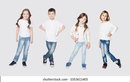 collage of cute little kids in stylish jeans clothes and white t-shirt are looking at camera and smiling on white background