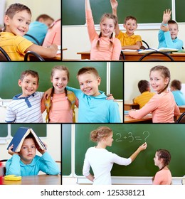 Collage of cute schoolchildren and teacher in classroom