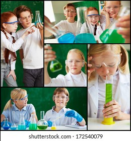 Collage of cute schoolchildren working with chemical liquids at lesson