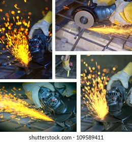 Collage of cutting metal with many sharp sparks