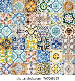 Collage Of Decorative Ceramic Wall Texture Pattern In Lisbon, Portugal