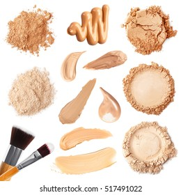 Collage of decorative cosmetics on white background. Beauty and makeup concept.