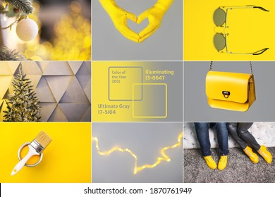 Collage demonstrating trendy colors 2021 - Gray and Yellow. Fashionable leather shoes and bag - Shutterstock ID 1870761949
