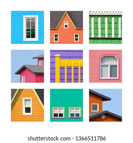 Collage of details of the colourful houses of the Magdalen Islands, or Les Iles de la Madeleine in Canada. The traditional houses are painted wood or shingles in vibrant tones.