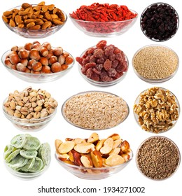 Collage of different bulk food, nuts and dried fruits isolated on white background