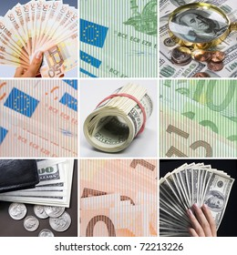 Collage of different cash