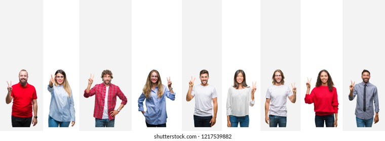 Collage of different ethnics young people over white stripes isolated background showing and pointing up with fingers number two while smiling confident and happy.