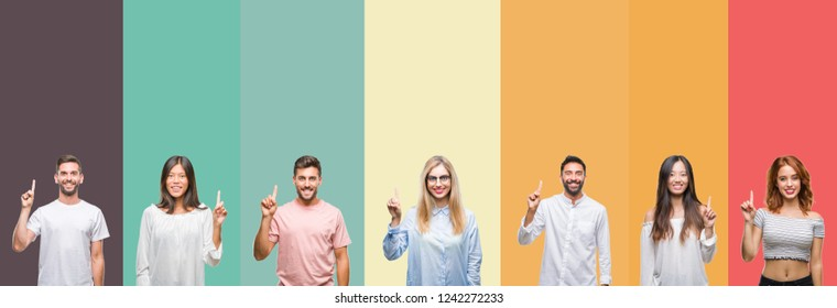 Collage of different ethnics young people over colorful stripes isolated background showing and pointing up with finger number one while smiling confident and happy. - Shutterstock ID 1242272233