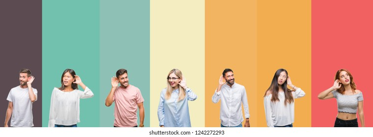 Collage of different ethnics young people over colorful stripes isolated background smiling with hand over ear listening an hearing to rumor or gossip. Deafness concept.