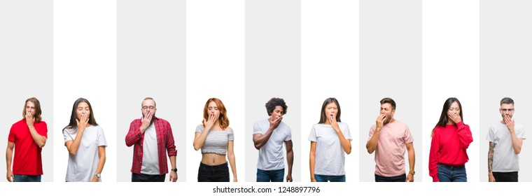 Collage of different ethnics young people over white stripes isolated background bored yawning tired covering mouth with hand. Restless and sleepiness.