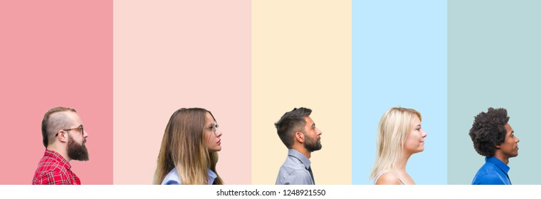 Collage of different ethnics young people over colorful stripes isolated background looking to side, relax profile pose with natural face with confident smile.