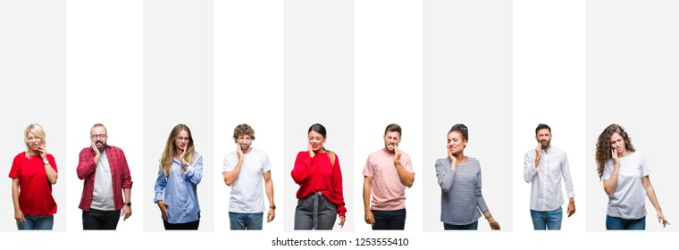Collage of different ethnics young people over white stripes isolated background touching mouth with hand with painful expression because of toothache or dental illness on teeth. Dentist concept.