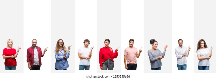 Collage of different ethnics young people over white stripes isolated background with a big smile on face, pointing with hand and finger to the side looking at the camera.